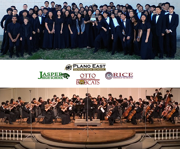 Jasper HS Legacy String Orchestra & Jasper Full Symphony Orchestra with school logos of winners